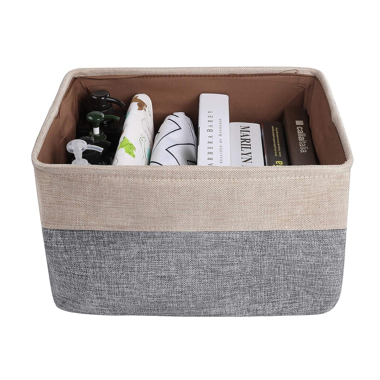Beige 3 Pack Large Storage Shelf Basket Set Big Rectangular Linens Fabric Collapsible Organizer Bin