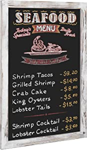 MyGift 36 x 24 Wall Mounted Shabby Whitewashed Wood Framed Chalkboard Sign/Cafe Menu Board