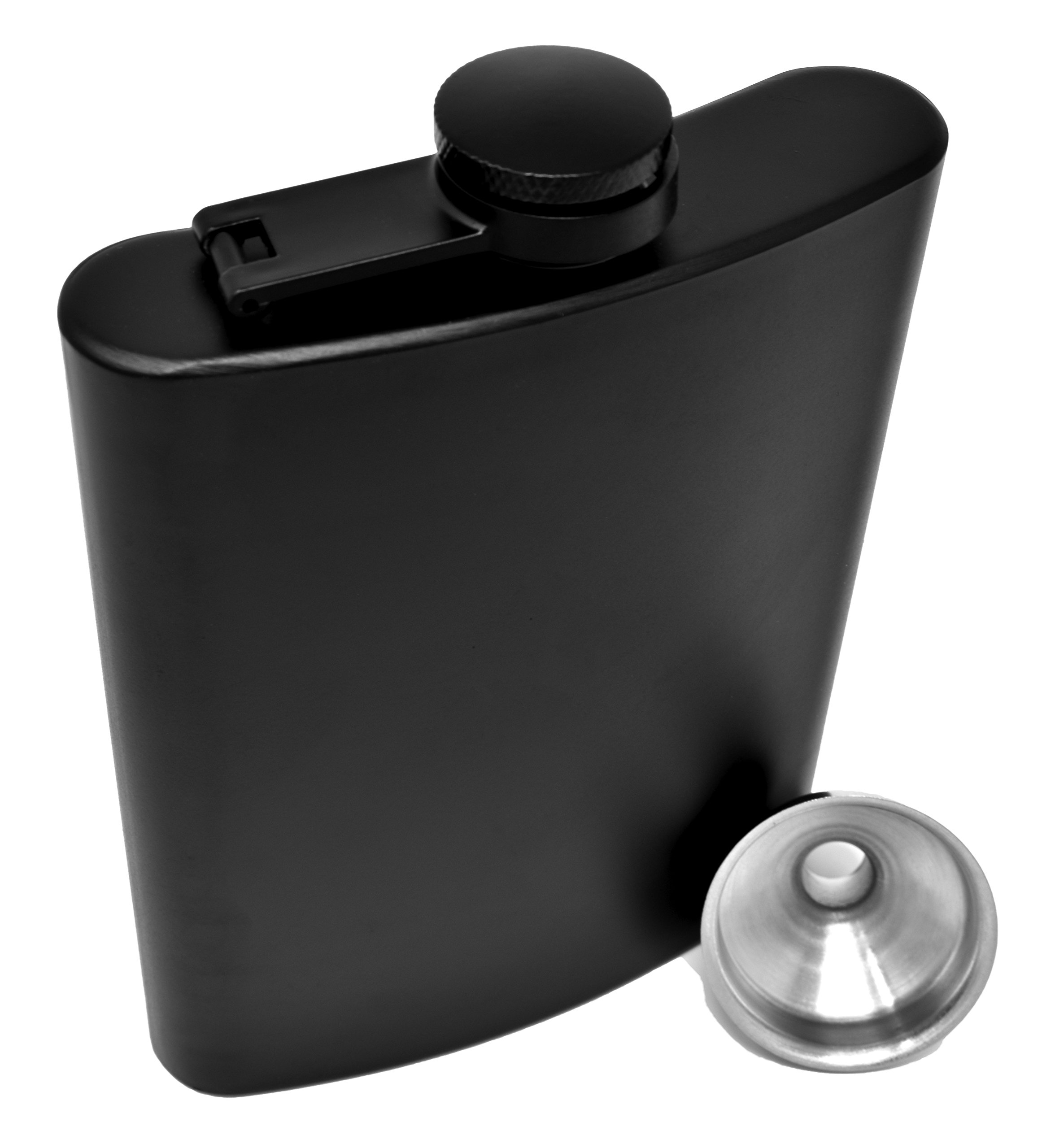 Hip Flask for Liquor Matte Black 8 Oz Stainless Steel Leakproof with Funnel in Gift Package for Men & Women for Perfecting Your Drinking Experience! By IDALIO