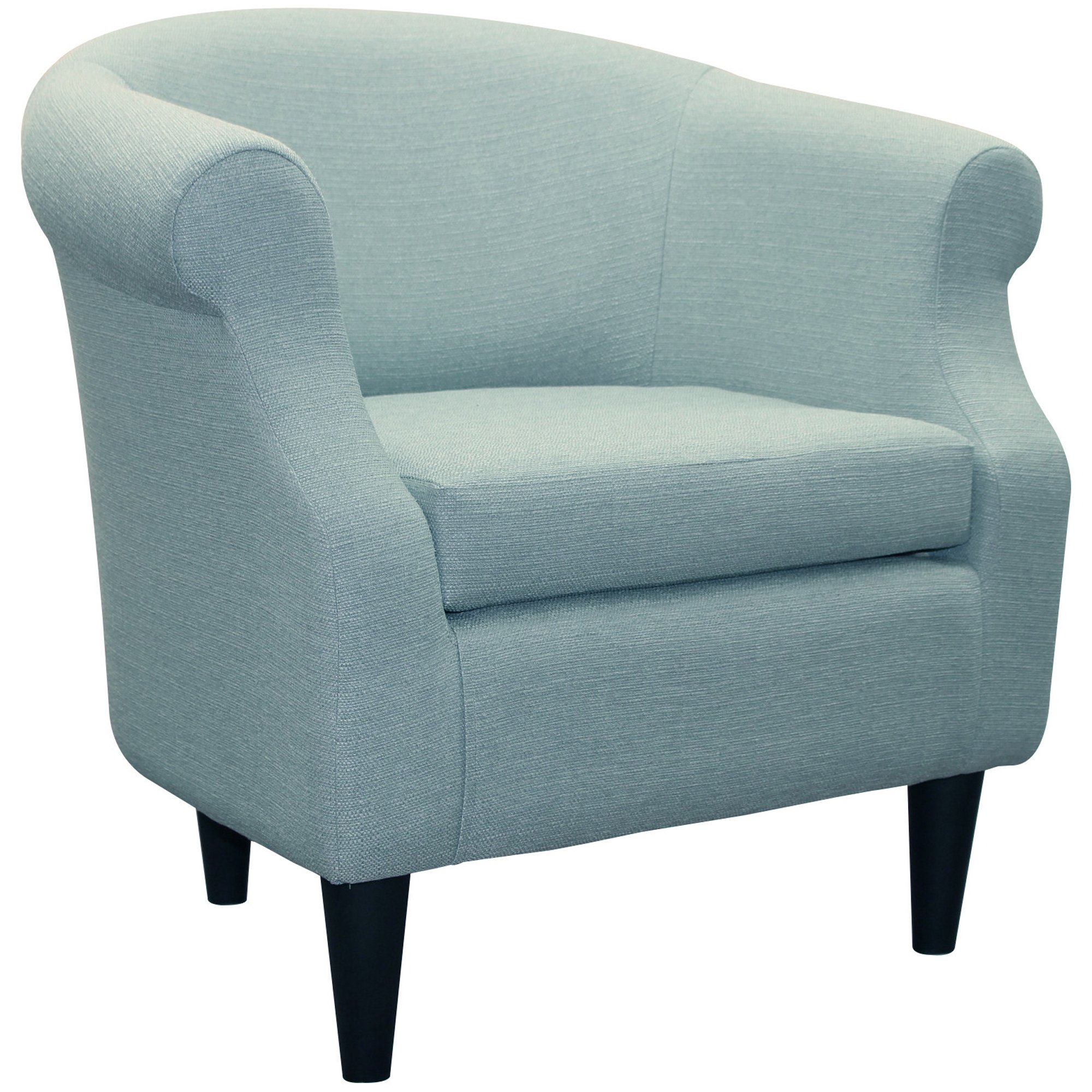 Upholstered Chair, Barrel Back Armchair, Contemporary Living Room Arm Guest Chair, Removable Seat Cushion, Microfiber Fabric (Depalma Spa)