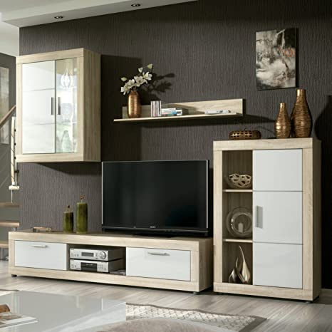 HomeSouth - Mueble de comedor con leds, salon vitrina modelo Fiordo, acabado color Cambria y Blanco, medidas: 259 cm de ancho