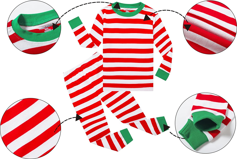 Family Feeling Striped Boys Girls 2 Piece Christmas Pajamas Set 100/% Cotton Pjs