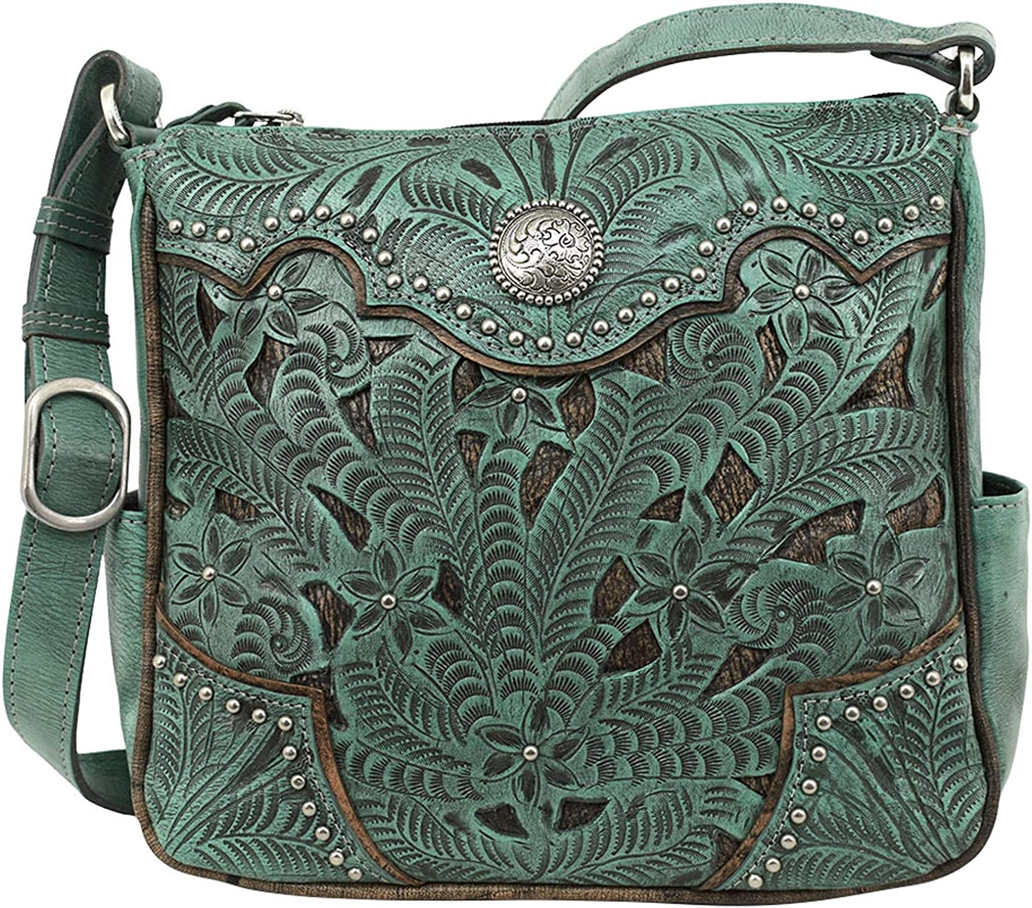 Max 53% OFF American West Inlay Eagle Leather Messenger Ranking TOP15 All Bag Access
