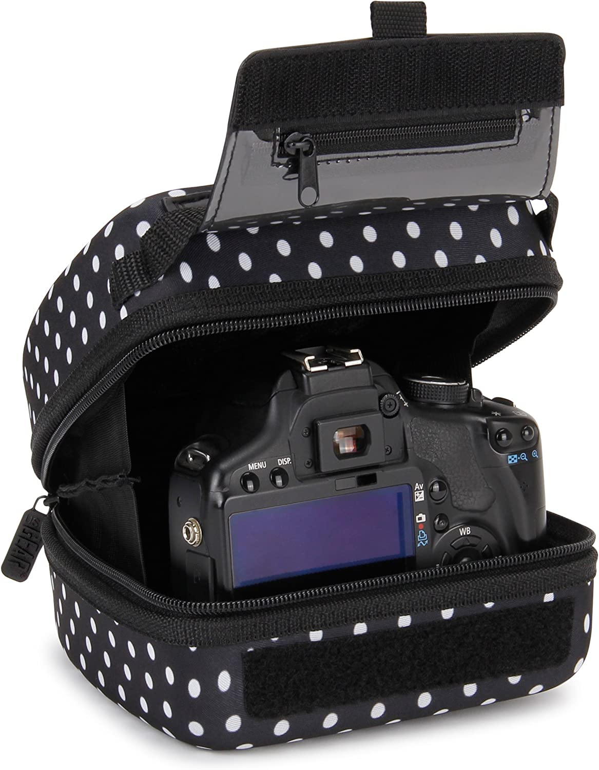 USA GEAR Hard Shell DSLR Camera Case (Polka Dot) with Molded EVA Protection, Quick Access Opening, Padded Interior and Rubber Coated Handle-Compatible with Nikon, Canon, Pentax, Olympus and More