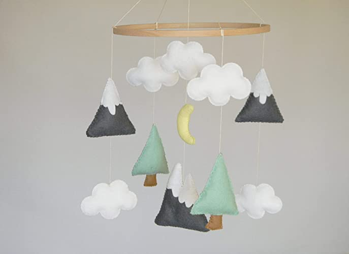 c9ae02933bc22 Mountains Baby Mobile Baby Crib Mobile Modern Nursery mobile, Felt  Mountains and Tree Mountain nursery decor Cloud Cot Mobile Mint Gray