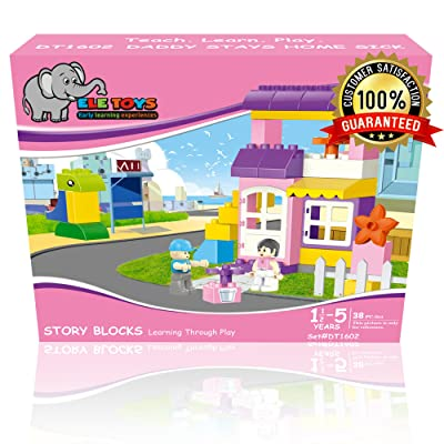 Ele Toys Daddy Stays Home Sick ~ Interlocking Building Bricks Story Blocks ~ Compatible with Major Brands ~ Educational, Fun and Creative! ~ 38 Interesting Pieces: Toys & Games