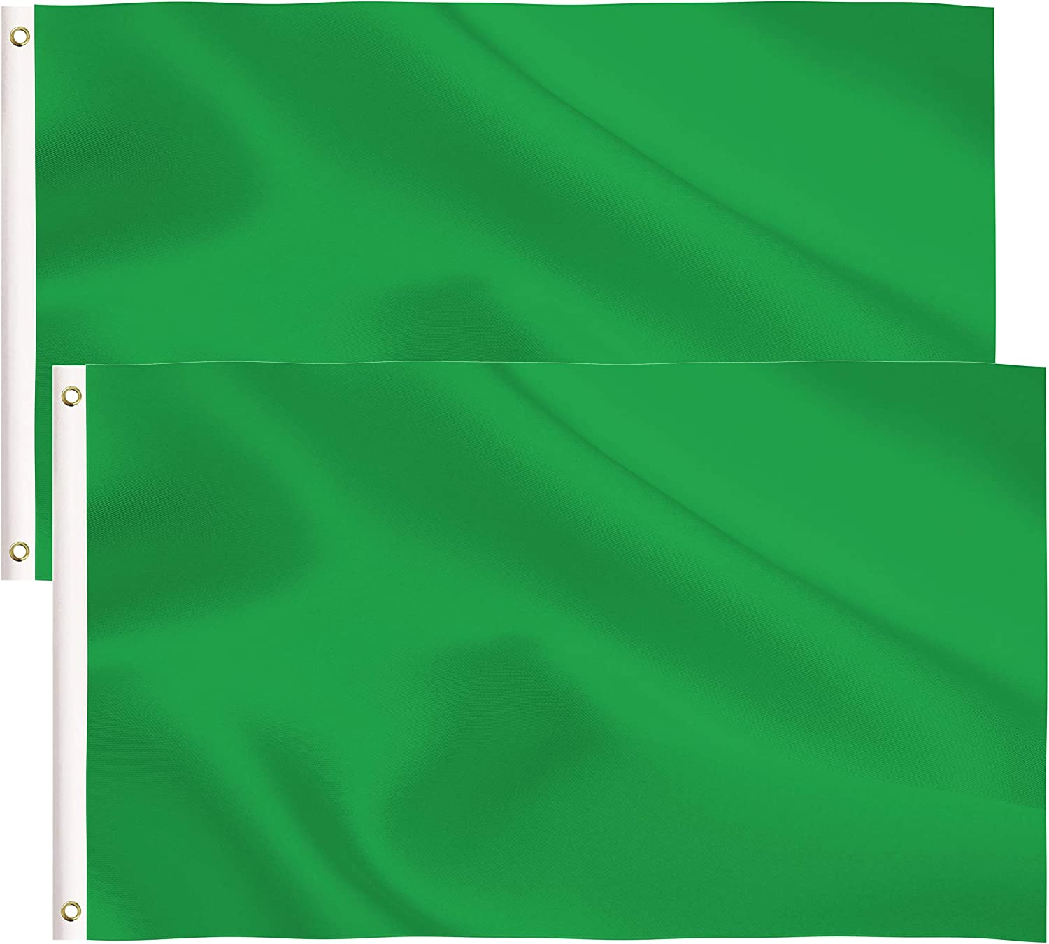 2 Pack Solid Green Flag,3x5 Ft DIY Solid Green Flag with Blank Flags Banner Polyester and Brass Grommets,Garden Decoration (Green)