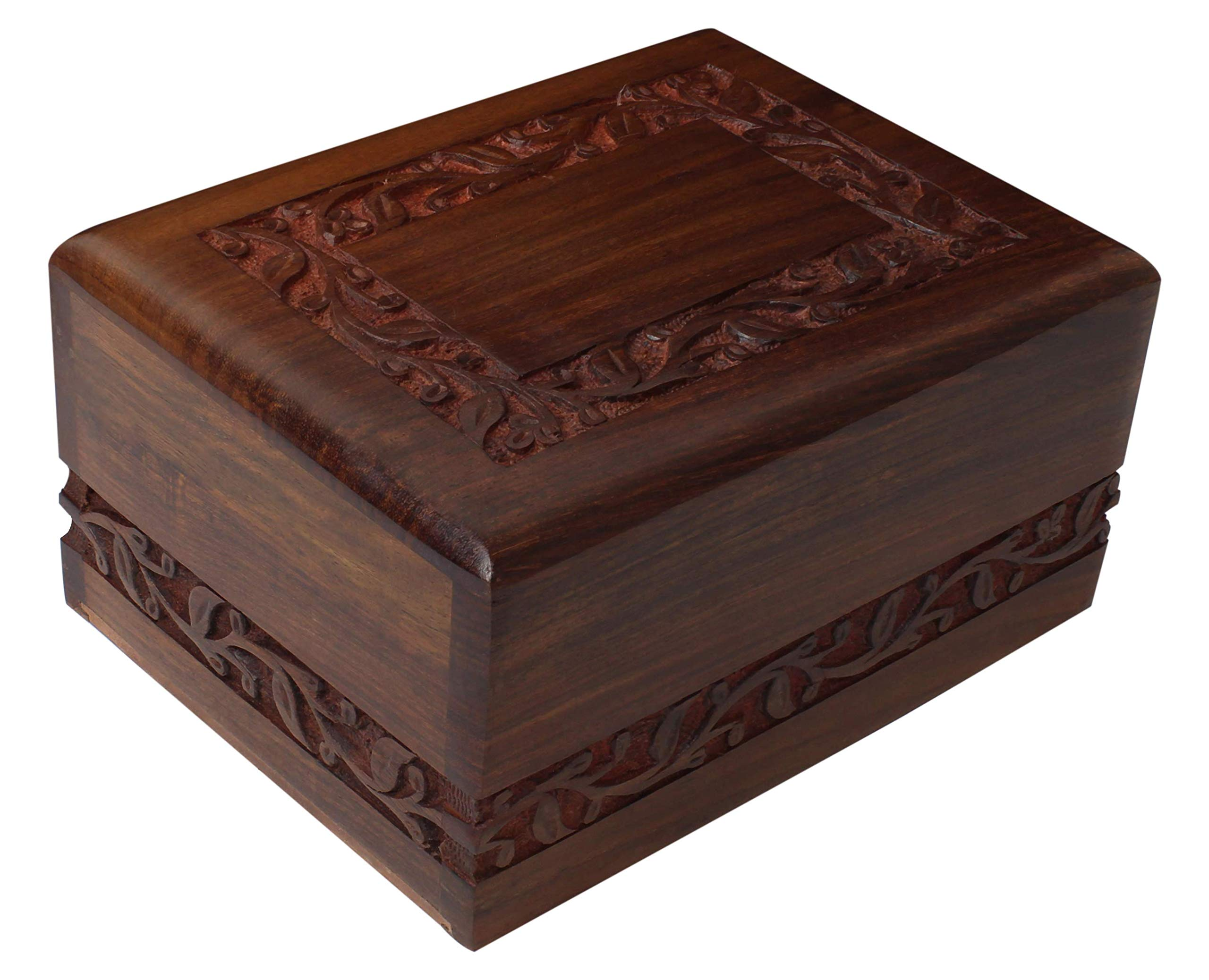 Bogati Hand Carved Rosewood Urn with Border Design (Large) by Bogati