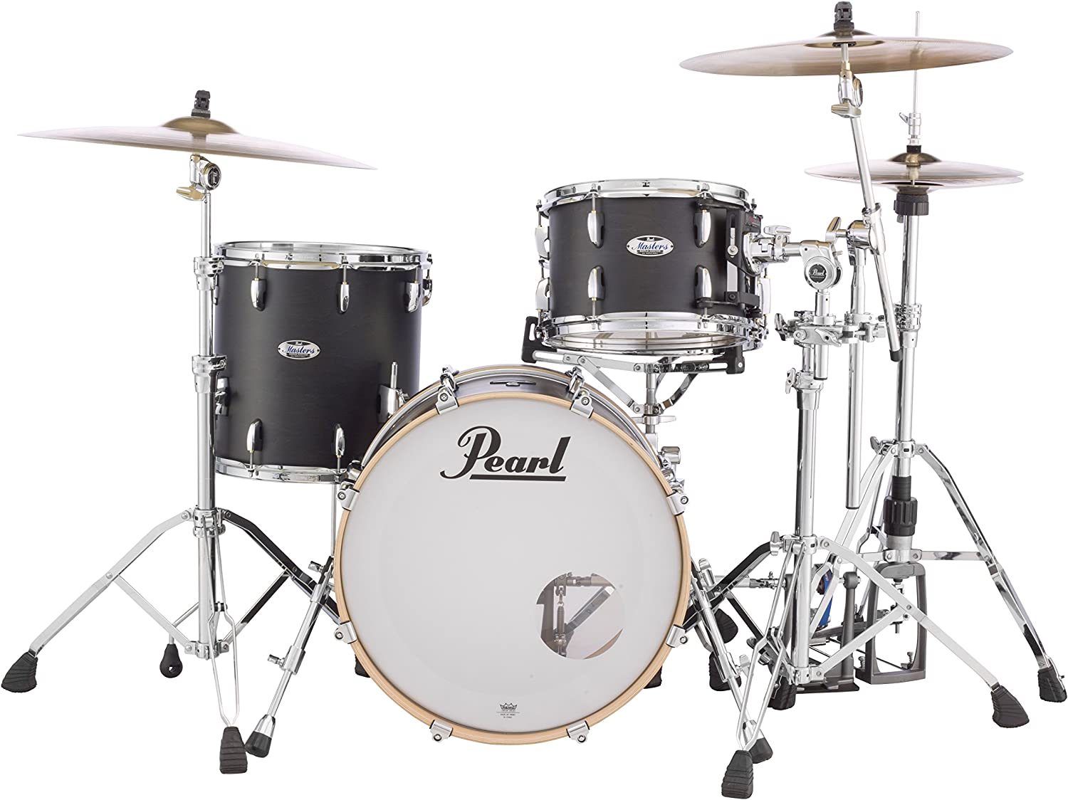 Pearl Masters Maple Complete MCT903XP/C124 3 Piece Drum Shell Pack, Black Mist