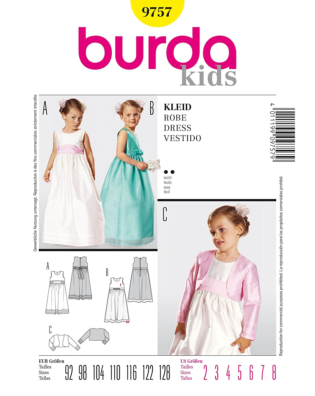 Burda Schnittmuster 9757 Kleid Gr. 92-128: Amazon.de: Küche & Haushalt