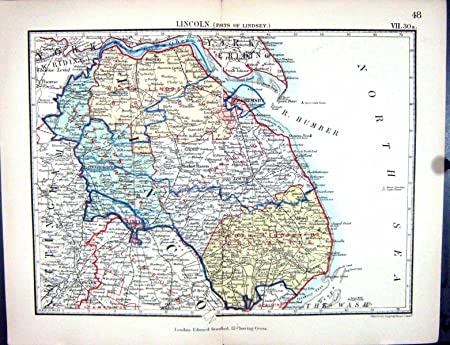 Old Original Antique Victorian Print Stanford Map 1885 Lincoln