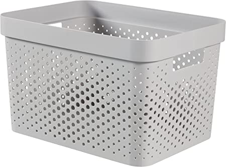 CURVER Caja, plástico, Gris, 35.6 x 26.6 x 21.8 cm: Amazon.es: Hogar