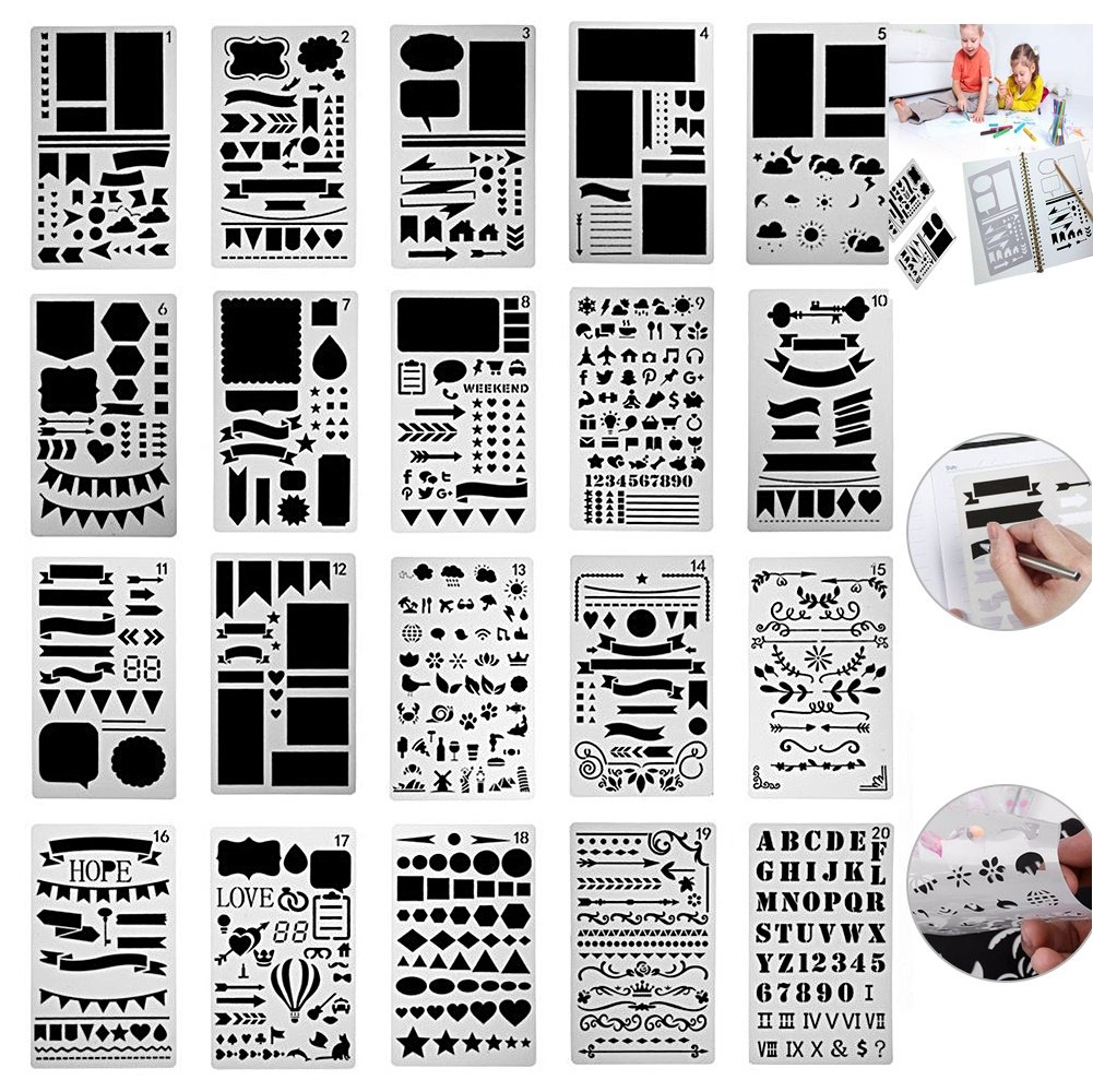 OffBiz Bullet Jurnal Lettering Stencil Journaling Set 20 Pcs Letter Drawing Painting Alphabet Number Craft Ruler Template for Scrapbooking Card Projects Plastic Planner Daily Book