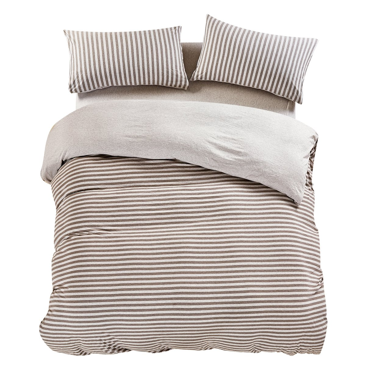PURE ERA Jersey Knit Cotton Home Bedding Duvet Cover Sets Striped Comforter Cover and Pillow Shams Soft Comfy Blue Grey Queen Size PE-18B-Q