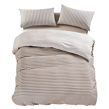 PURE ERA Egyptian Quality Jersey Cotton Bedding Sets Striped Duvet Cover  And Pillow Shams Brown Grey