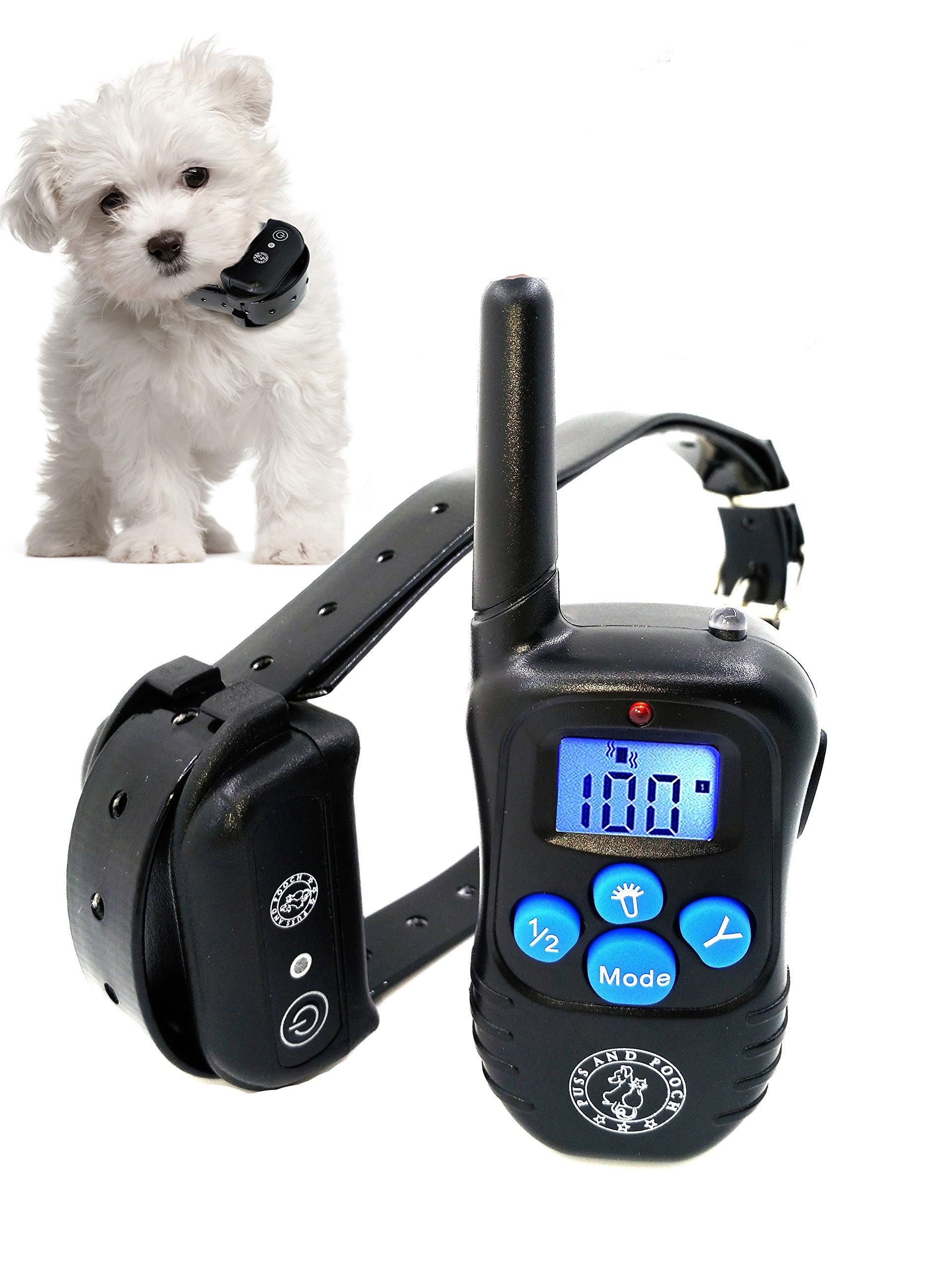 Puss and Pooch Dog Training Collar - Dog Remote Training Collar 300 Meter Range Static Shock Collar w/Humane Vibration & Beep Option