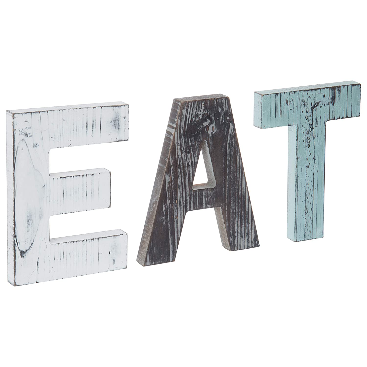 MyGift Rustic Multicolor EAT Cutout Wooden Letters Wall Plaque