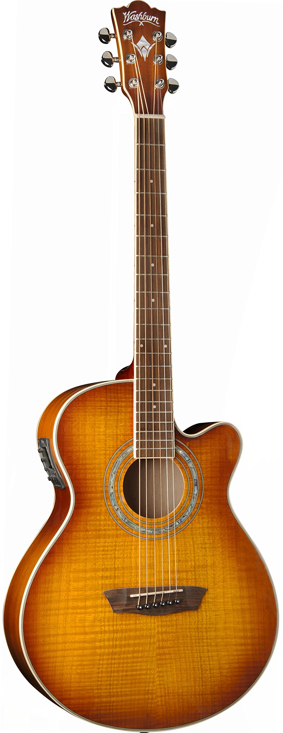 Washburn EA15ITB Festival Series Mini Jumbo Acoustic-Electric Guitar, Ice Tea Burst Finish by Washburn