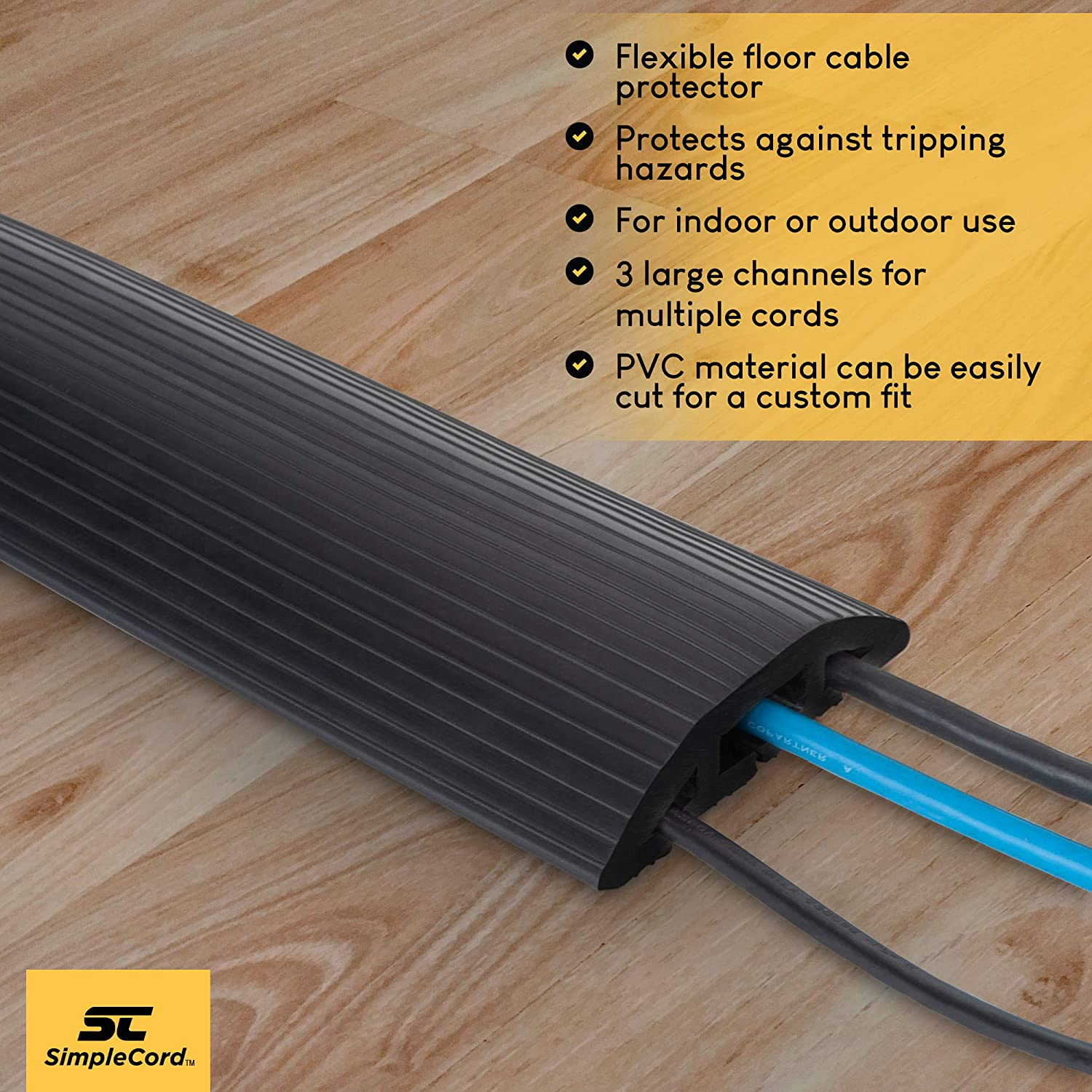 Cord Protector Cable Cover Organizer Concealer Raceway Dark Gray 3-Channel 15Ft