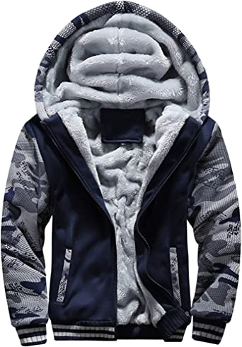 Mstyle Mens Mid Length Hoodie Thicken Warm Cotton Winter Zip Up Down Jacket