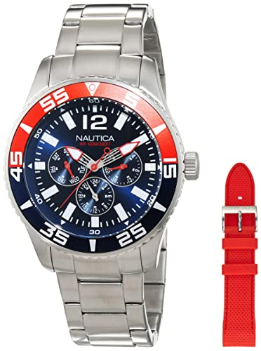 Nautica Reloj Analógico de Cuarzo para Hombre con Correa de Acero Inoxidable - NAI16500G: Amazon.es: Relojes