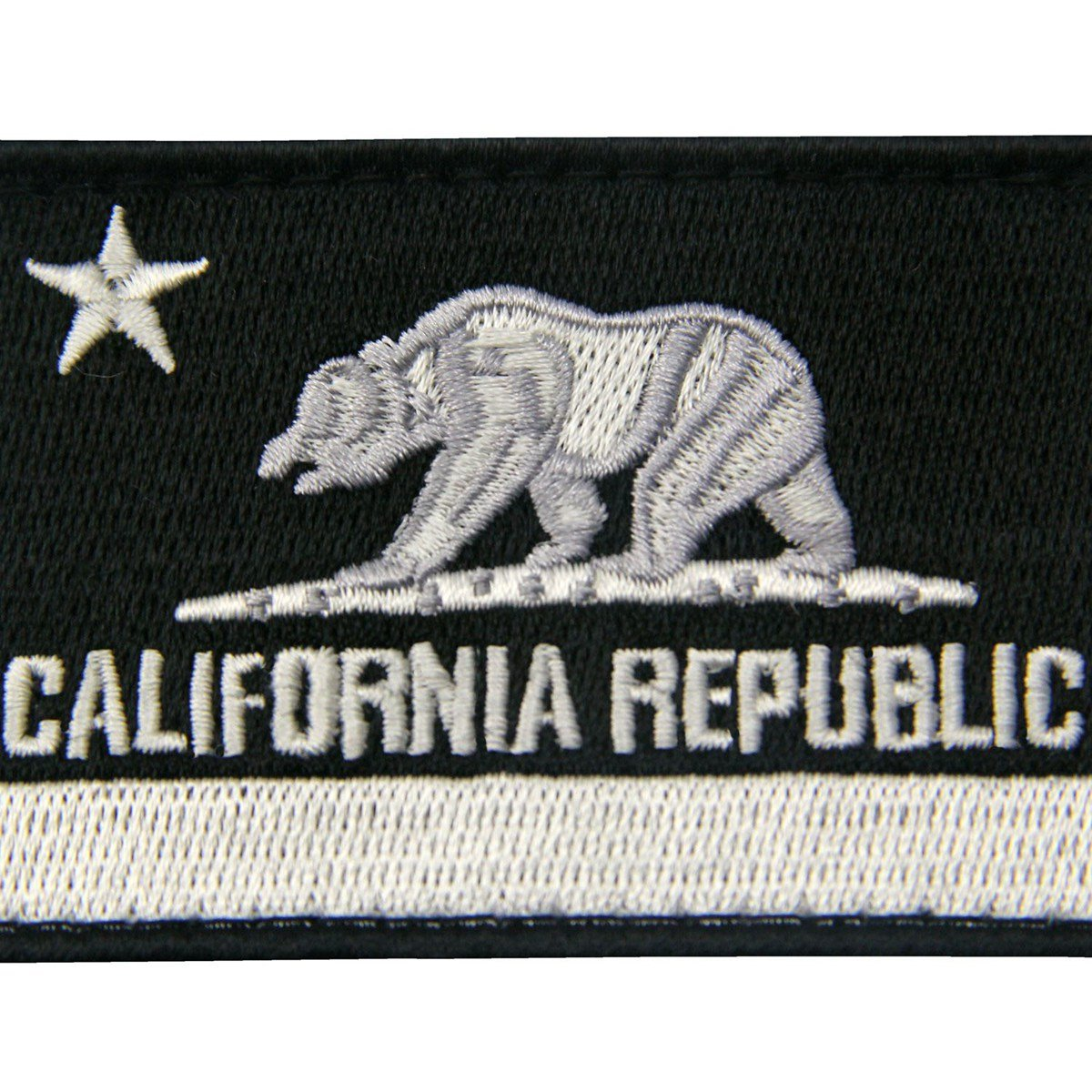 White /& Black EmbTao California Tactical Embroidered Applique Fastener Hook/&Loop Patch