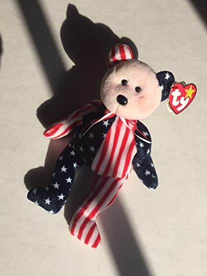 Amazon.com  Ty Beanie Babies Spangle - American Bear (Red Face)  Toys    Games 6b6d79f208