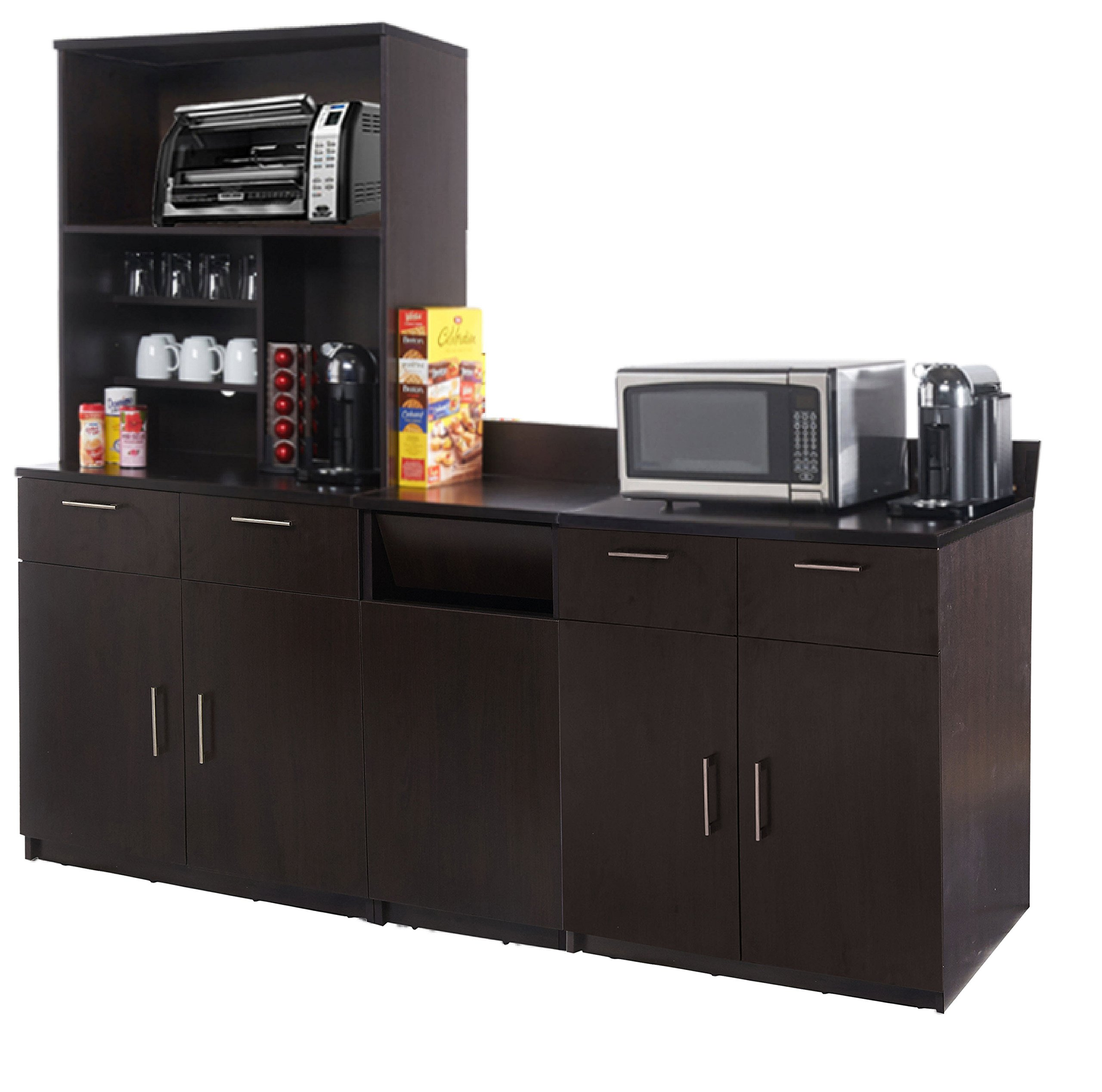 Coffee Kitchen Lunch Break Room Cabinets Model 4344 BREAKTIME 4 Piece Group Color Espresso - Factory Assembled (NOT RTA) Furniture Items ONLY.