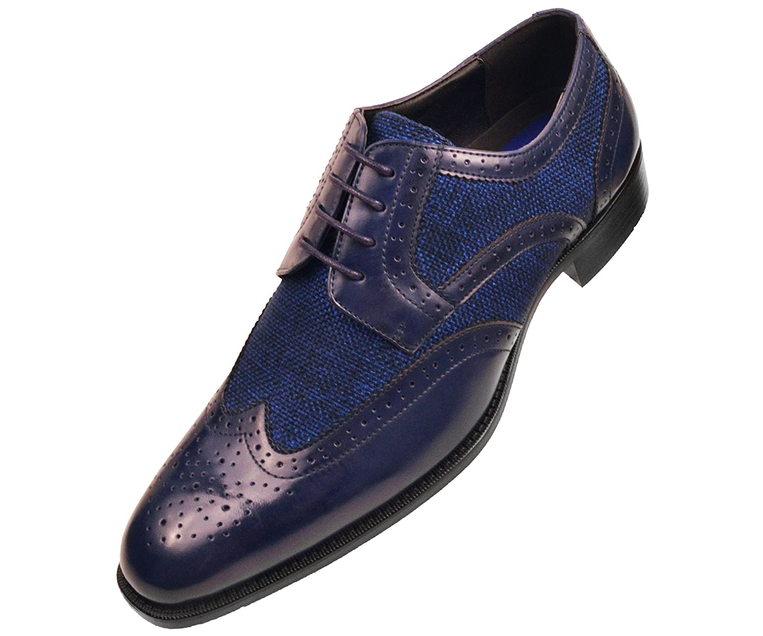 1950s Style Mens Shoes Bolano Mens Navy Blue Smooth and Twill Wingtip Brogue Oxford Dress Shoe with Perforated Design: Keller-002 $59.99 AT vintagedancer.com