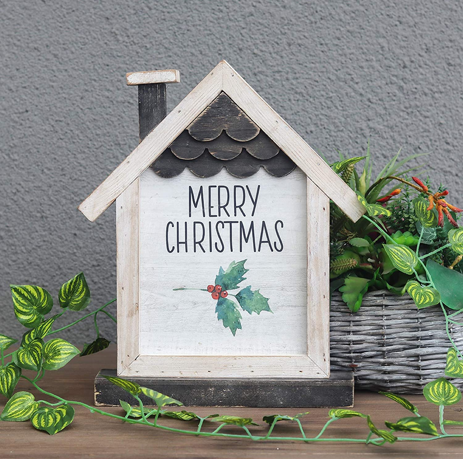 Wooden House Shaped Tabletop Decor with Merry Christmas Sign