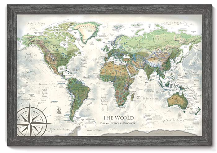 World Map Push Pin - The Nautilus World Map - Large Framed Map - Created on