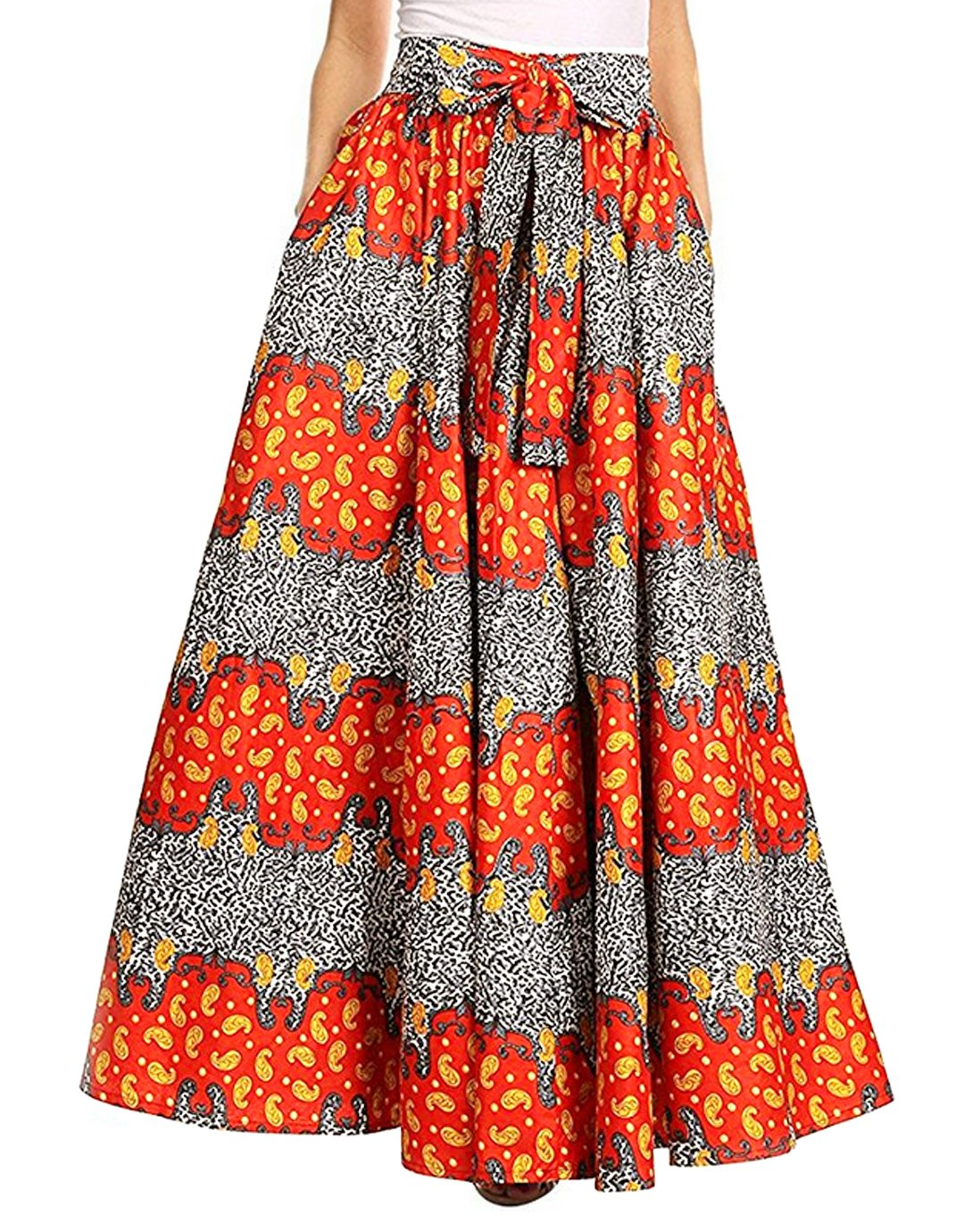 Monique Women Summer Floral Print Pleated Maxi Skirt Adjustable Waist A Line Long Skirt Dress