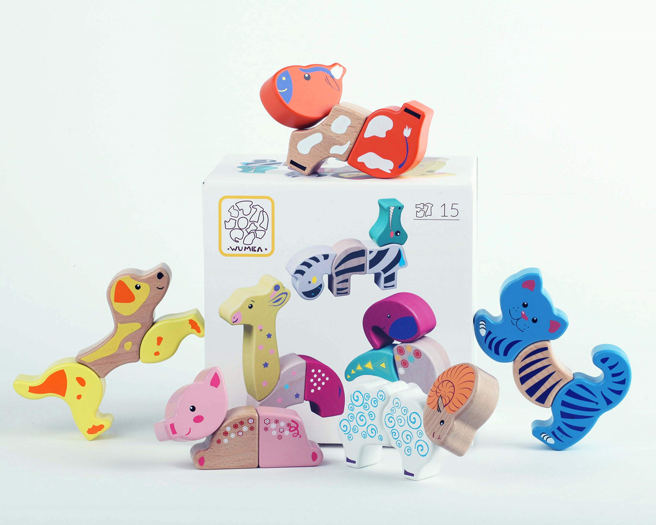 WUMBA - Unique Developing Travel Magnetic Toys for Children of All Ages. Wooden Toy Set (Cat Dog Cow Sheep Pig Toy Set)