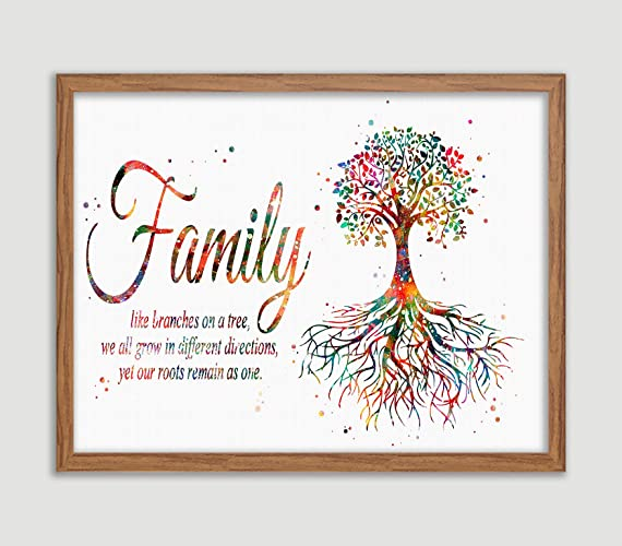Amazon.com: Tree Rooted Family Quote Watercolor Poster ...