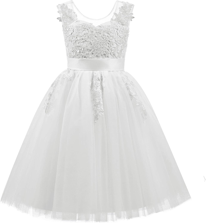 ABAO SISTER Lace Applique Tulle Sheer Neckline Flower Girl Junior Bridesmaid Dress