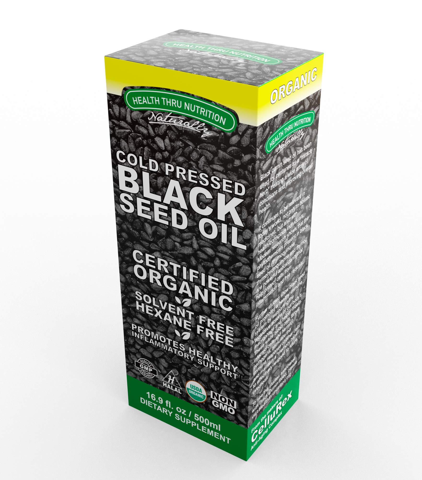 Black Cumin Seed Oil 16.9 oz (500ml) Bottle - 100% Pure Cold-Pressed - Soy-Free & Non-GMO