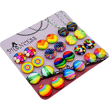 Amazon.com  Colorful Glass Dome Magnetic Clip-on Earrings for Teen ... 89a77901e4