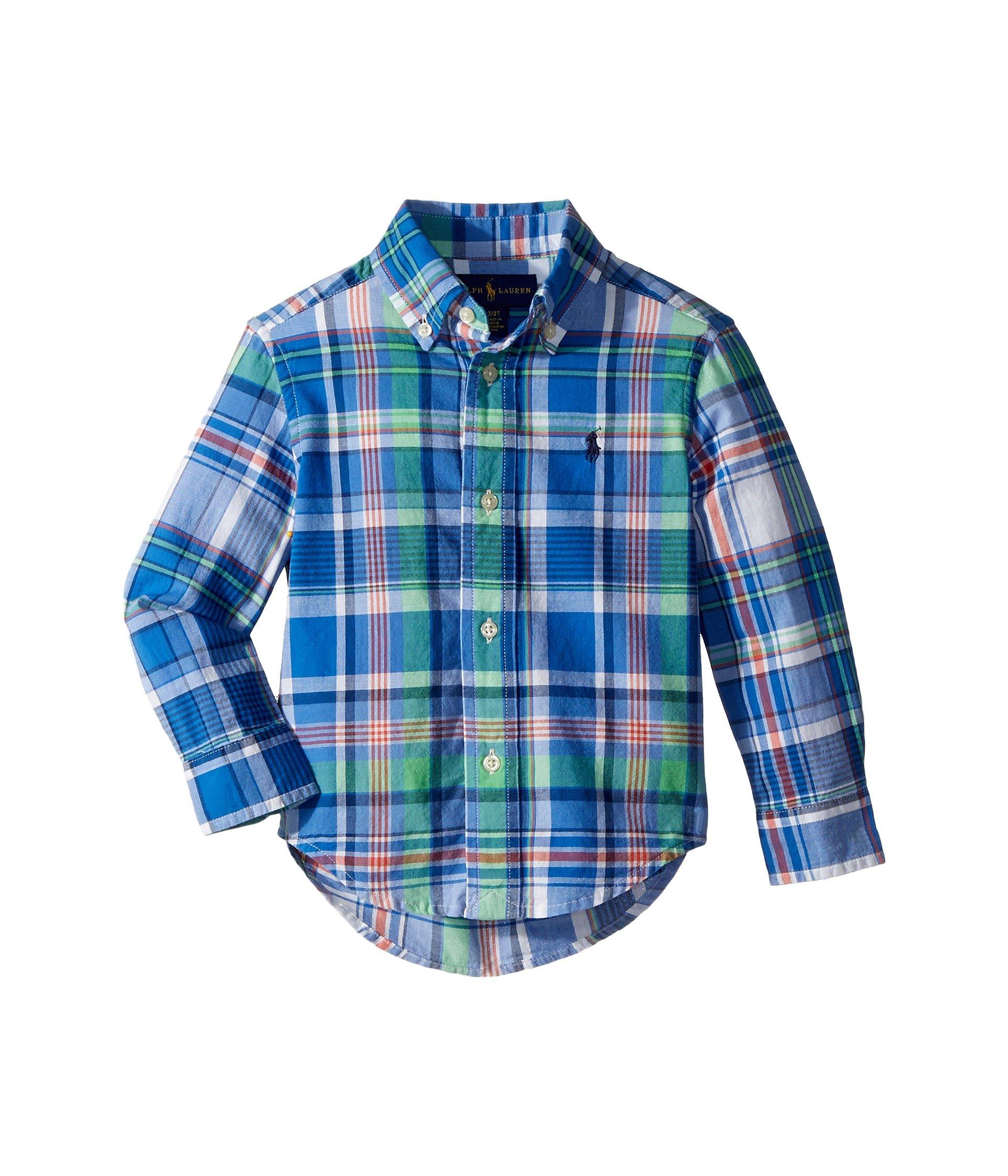 RALPH LAUREN Polo Boys Plaid Cotton Long Sleeve Shirt (2T Toddler)