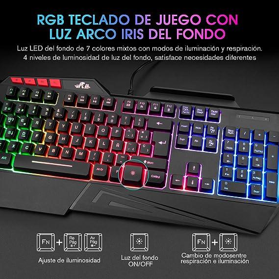 Teclados Gaming, Rii RK202 Teclado Gaming, Teclado USB, Teclado Gaming PS4 LED Retroiluminado con Cable USB, Teclado para PC / Laptop / PS4 / Xbox One ...