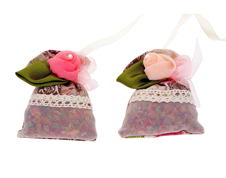 traditionnel, élégant, Naturel Désodorisant et purifiant Sacs - Deux Sacs avec suspendre Cordes - Subtil Parfum de rose Odor Absorbeur d'humidité 100% de charbon de bambou non toxique hypoallergénique Ambient Bamboo Air Deodorizer BBC003