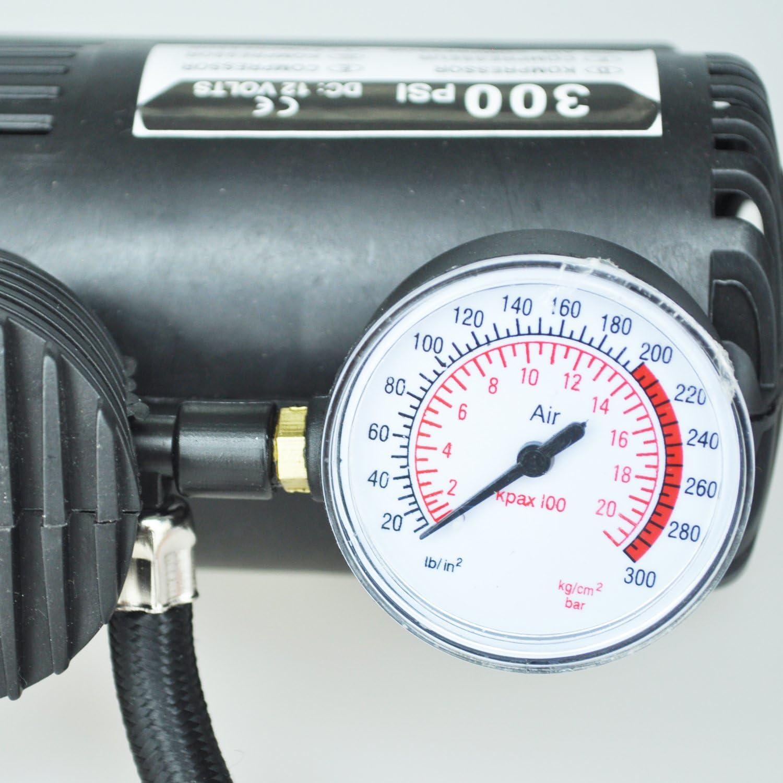 Tiamu 12v Voiture Auto Pompe Electrique Compresseur dair Portable 300 PSI Gonfleur de Pneu