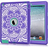 iPad 2/3/4 Case, Hocase Shockproof Heavy Duty Hard Plastic+Silicone Rubber Dual Layer Screenless Protective Case for 9.7-inch iPad 2nd/3rd/4th Generation Retina - Purple Floral Print/Teal