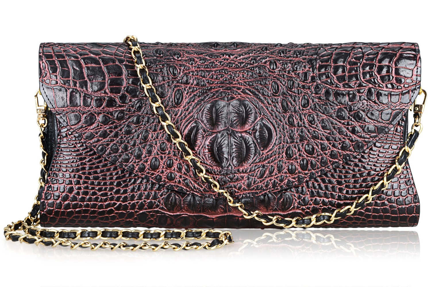 PIJUSHI Women's Genuine Leather Embossed Crocodile Evening Party Clutches Handbags Shoulder Bag (66115, Black/Red)