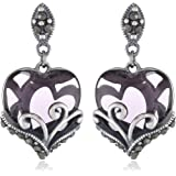 Sterling Silver Oxidized Genuine Marcasite and Gemstone Colored Glass Filigree Heart Drop Earrings