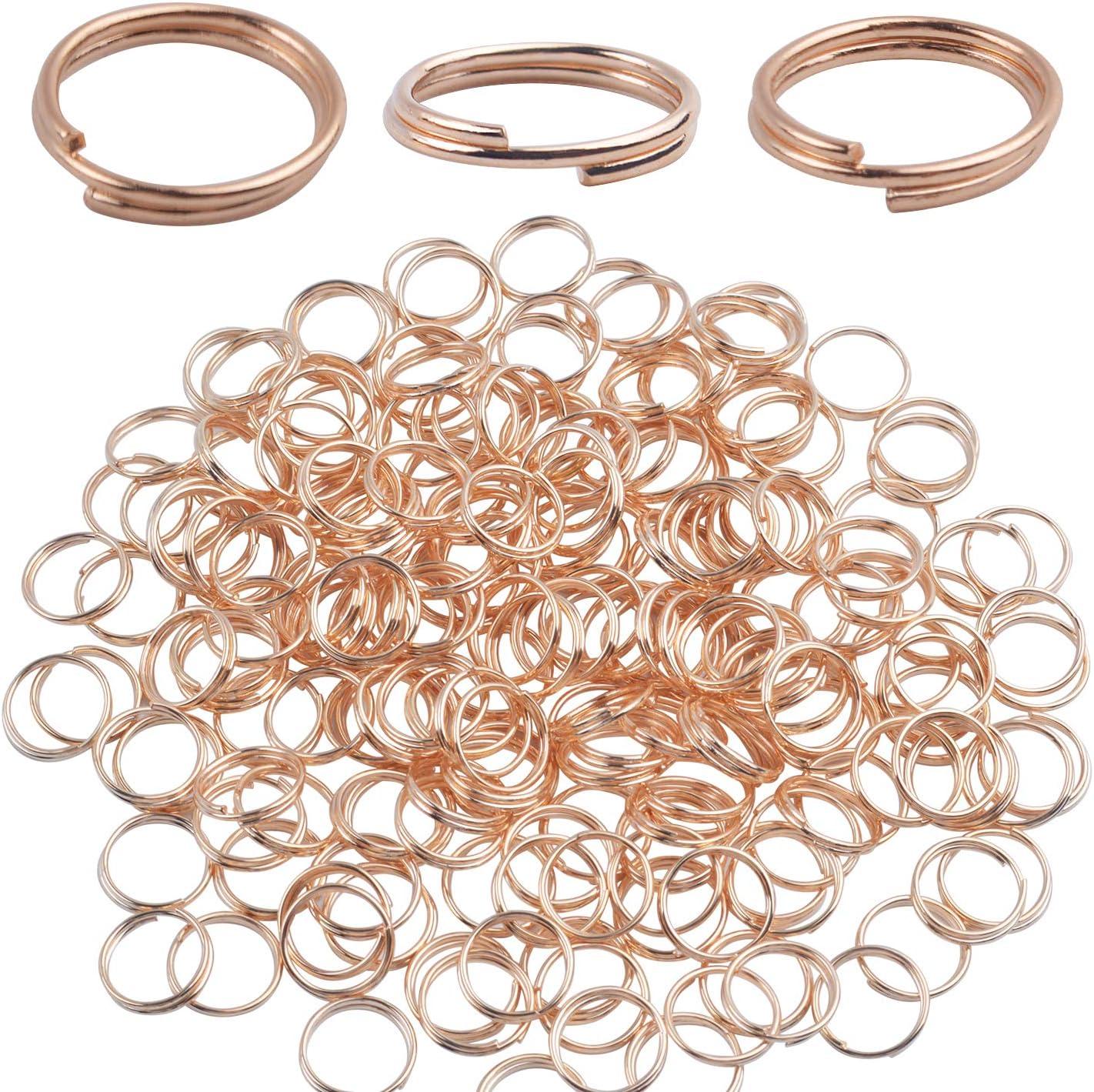BronaGrand - 200 llaveros pequeños de oro rosa con anillas ...