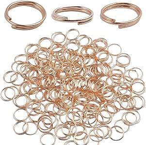 BronaGrand 200 Pieces Small Gold Key Chain Rings Split Ring Key Chains for Keys Organization,10mm Diameter