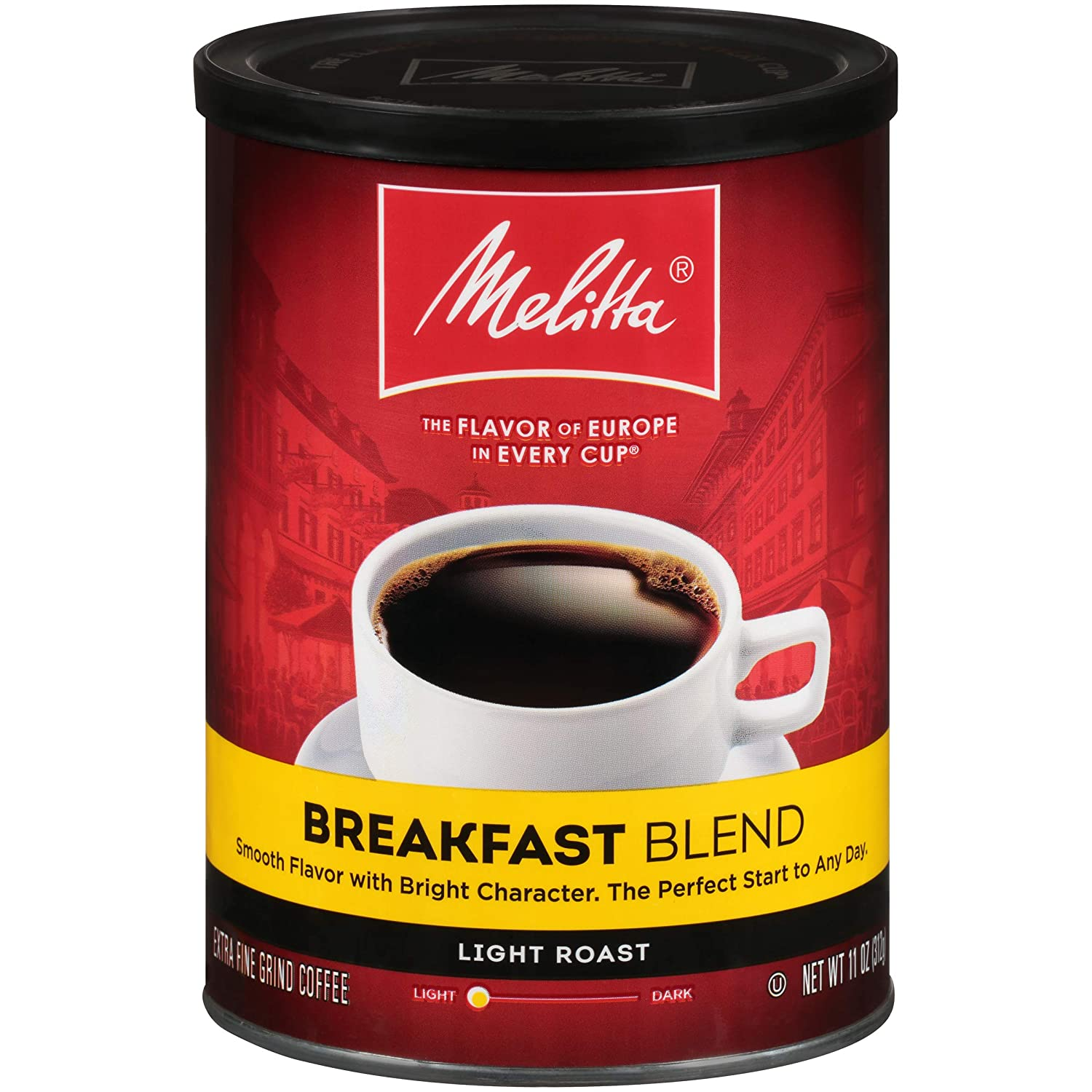 Melitta Breakfast Blend Coffee, Light Roast, Extra Fine Grind, 11 Ounce Can