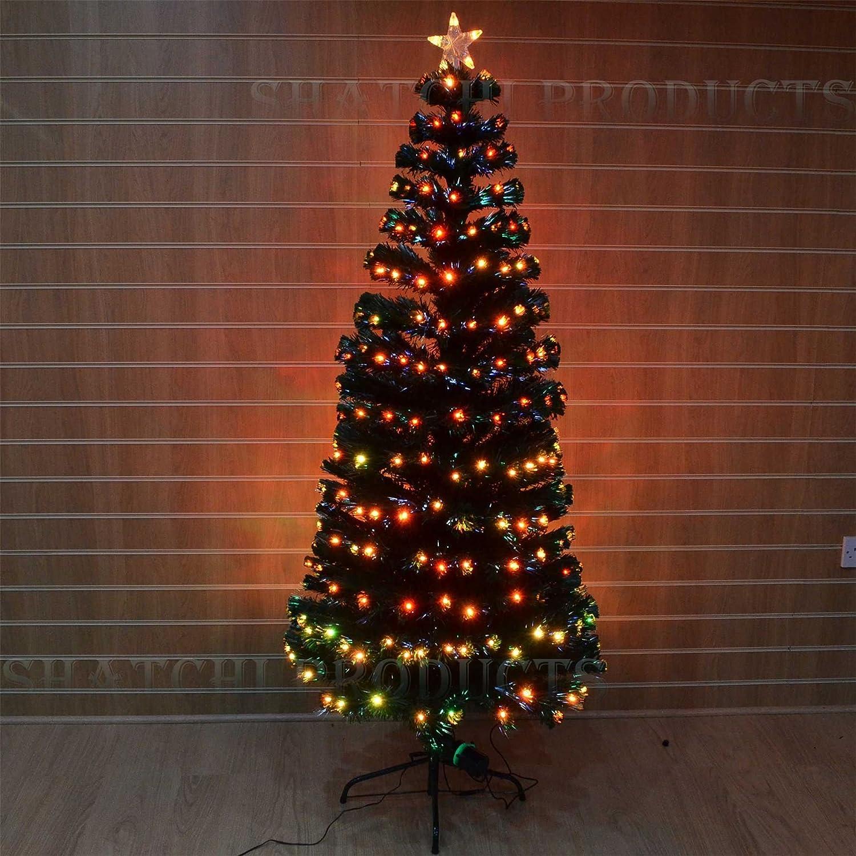 Shatchi Products Pre Lit Digital Led Fibre Optic Christmas Tree