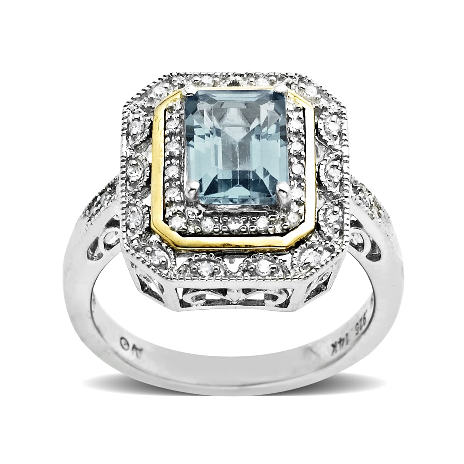 a138946f215a2 Sterling Silver and 14k Yellow Gold Emerald Cut Created Emerald and Diamond  Accent Art Deco-Style Ring