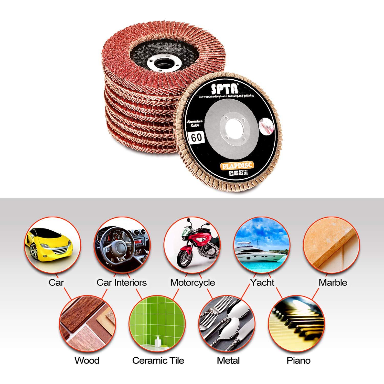 Flap Discs SPTA Zirconia 4 Inch 10pcs Aluminum Oxide Polishing Flap Discs with 40,60,80,100,120,150,280,240,320,480 Grit Sanding Flap Discs for Angle Grinder 100mm